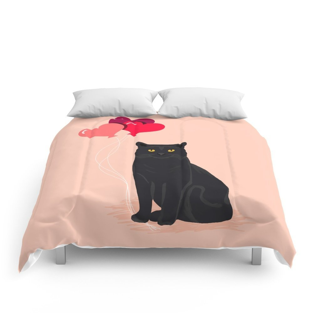 """Society6 Black Cat Love Balloons Valentine Gifts For Cat Lady Cat People Gifts Ideas Funny Cat Themed Gifts Comforters Queen: 88"""" x 88"""""""