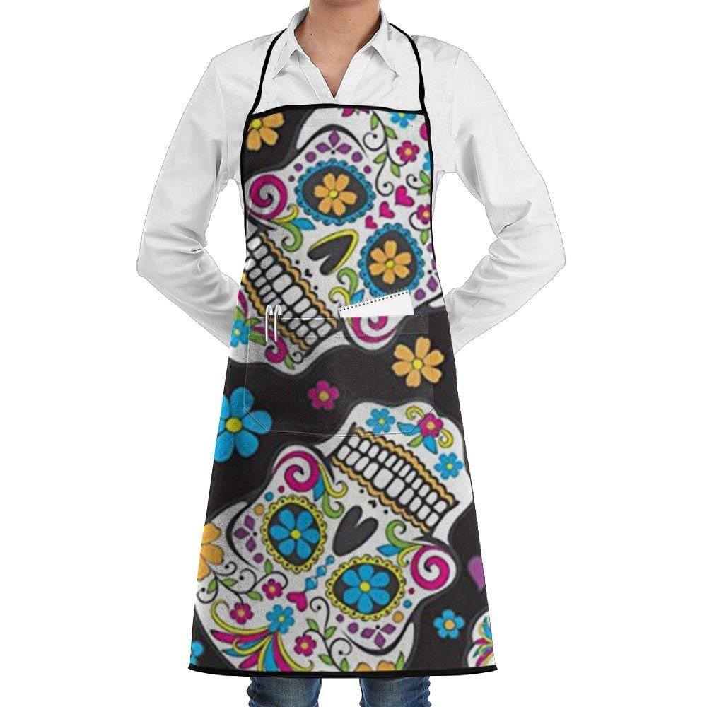 Sugar Skulls Black Adjustable Apron With Pockets,Black 100% Polyester Twill Seam,Cooking Kitchen Restaurant Uniform Aprons For Men Women