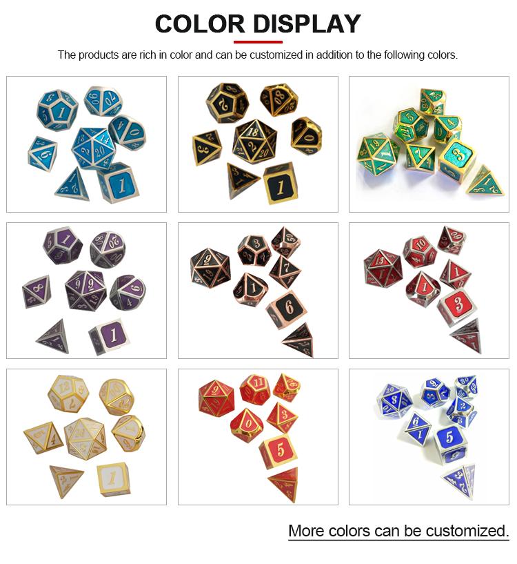 Commercio all'ingrosso su ordinazione del metallo verde dello smalto dadi poliedrici D20 gioco di dadi