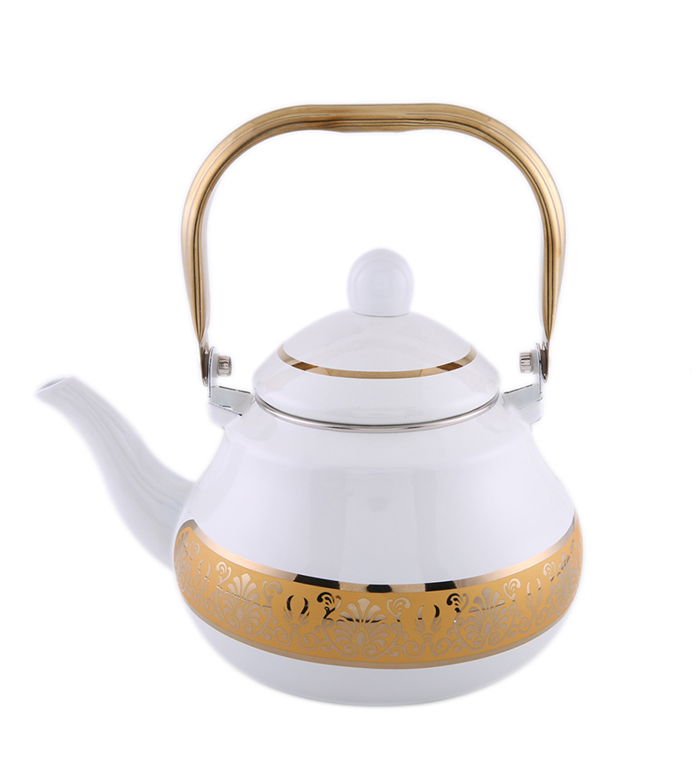Simple Design Color Mixed Enamel Self Watering Tea Pot Set