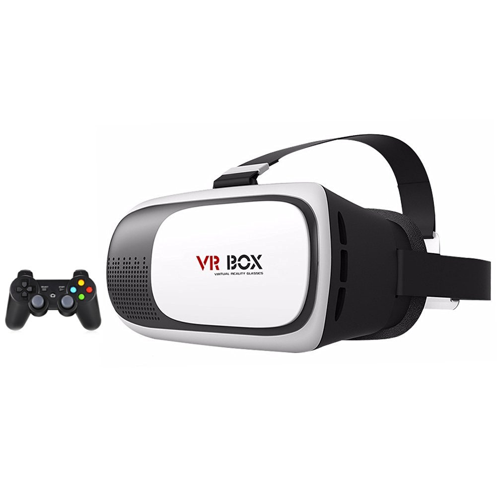 "VR Box Virtual Reality Glasses Headset with Black Wireless Remote Bluetooth Controller 360° Immersive for 3.5""-6"" iPhone and Android Phones"