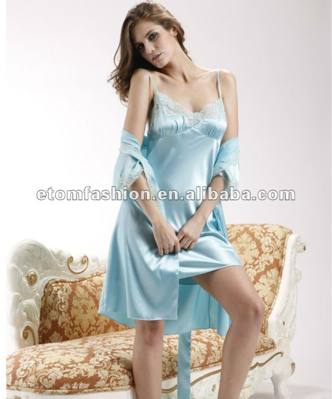 Hot Sale Romantic Silky Satin Lace Robe Nightgown Set 2091 - Buy ...