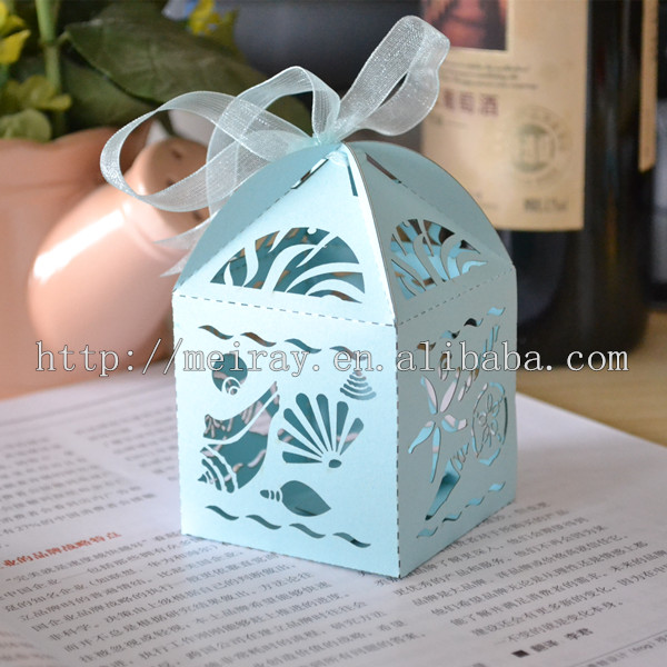 Beach Wedding Party Decoration Laser Cut Blue Sea Shell Favor Bo And Cupcake Wrers For