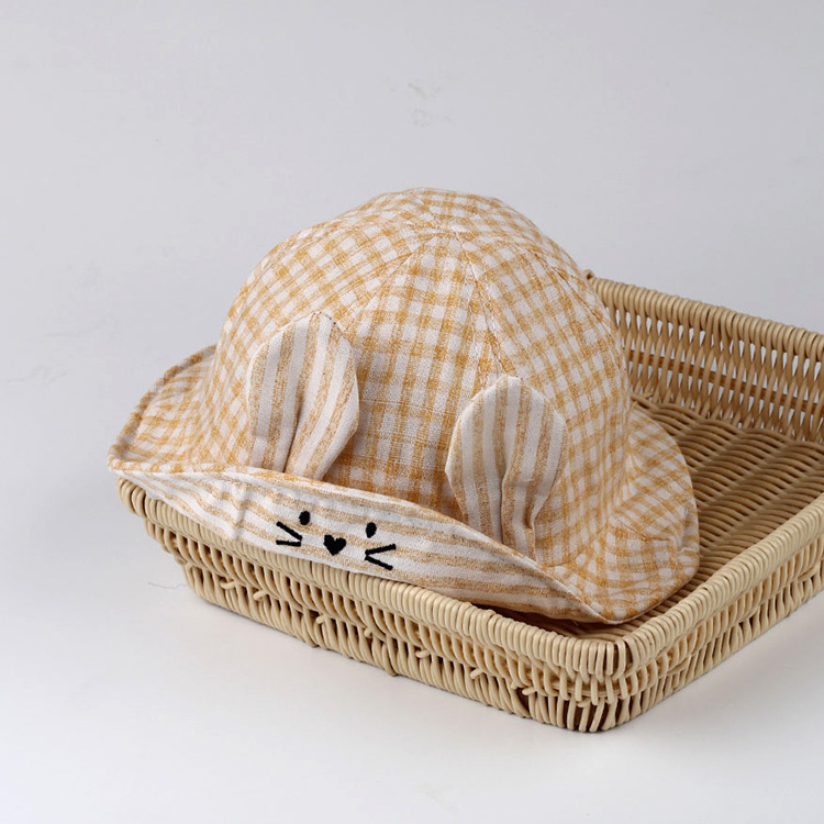 Baby hat spring lattice hare cap infant summer sunshade cap male and female baby fisherman hat