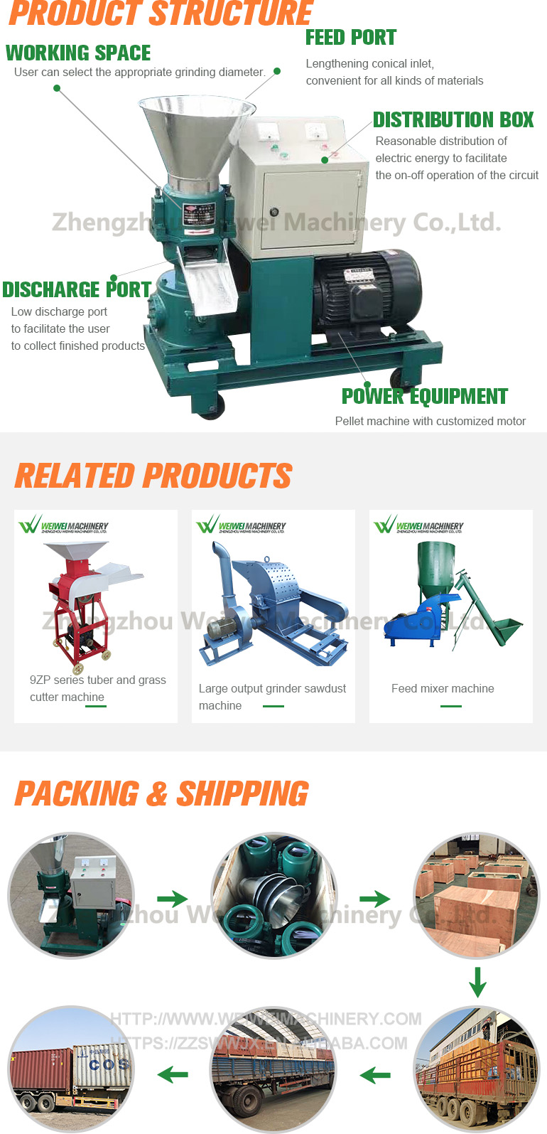Weiwei 120 model farm animal feed pellet machinery