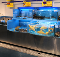 Dingfeng customized supermarket or restaurant temperature control chiller or heater live rainbow trout fish tank aquarium