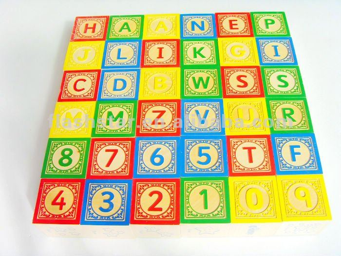 Promotional Wooden Letter And Number Cube For Kids