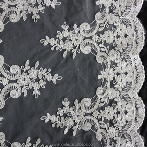 2016 fashion show swiss dot 3mm sequin embroidery lace fabric for wedding dress