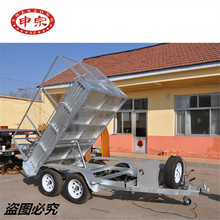 factory hot sale car transporter 2 ton tandem axle galvanized cage tipping trailer