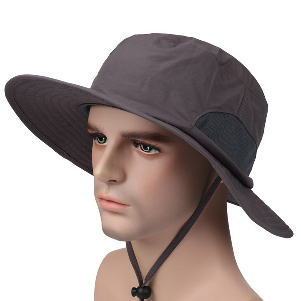 Fishing Sun,Breathable Wide Brim Boonie Hat with Neck Cord Outdoor UPF 50+ Sun Protection Mesh Cap Summer Bucket Caps for Travel Fishing Camping Hiking Outdoor Activity
