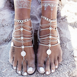 2017 Sandalia Feminina Boho Anklet For Women Leg Bracelet Feet Jewelry Barefoot Sandals Retro Ankle Chain Foot Jewellery