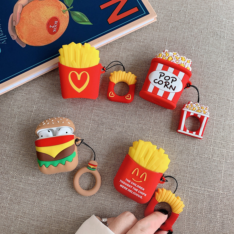 Cute Cartoon Hamburger Case For Apple Airpods Bluetooth Earphone Case For Airpods Silicone Cases Headset Protective Cover Bag фото