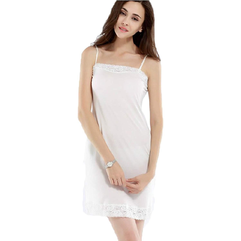 39f803a9c0a86 HOFFEN Womens 100% Silk Full Slips Dress Lace Petticoat Underdress