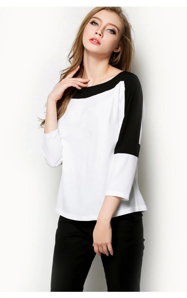 con manga nuevo de para 2015 mujer diseño corta gasa blusa la 8TOHZwq