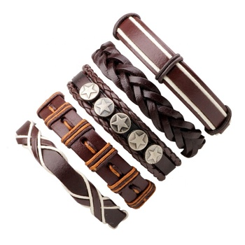 Stars Charm Leather Multilayer Bracelet Womens/Mens 5pcs Leather Braid Bracelet Cheap Leather Bracelet Jewelry