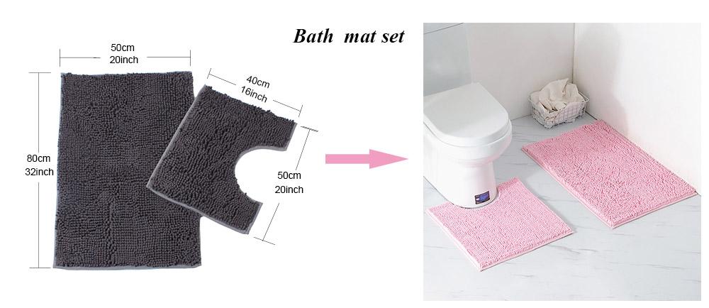 ロングパイルスーパーソフトで肌にやさしいシェニール浴室フットマット