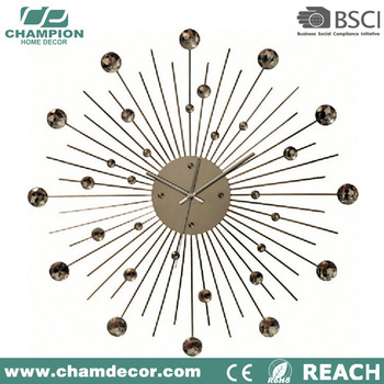 Kreatif Perak Modern Diy Jam Dinding Besar b73473e4fa
