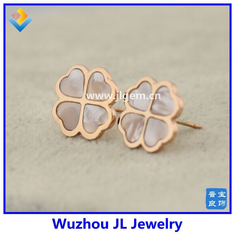 2017 New Style Shell Clover 316 Titanium Steel 14 K Rose Gold Lady Earrings