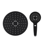 Original design wall mounted black shower set with shower head and handheld rain shower head