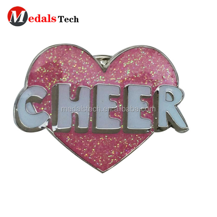 Free sample  metal funny gold  lapel shield shape football club souvenir pin with butterfly clutch