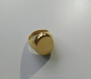 Custom Made Oval Shaped Stainless Steel Blank Signet Yellow Gold Plated Big Rings