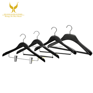 Matte Black High Quality Solid Wooden Hangers, with Non Slip Bar and Chrome Hooks