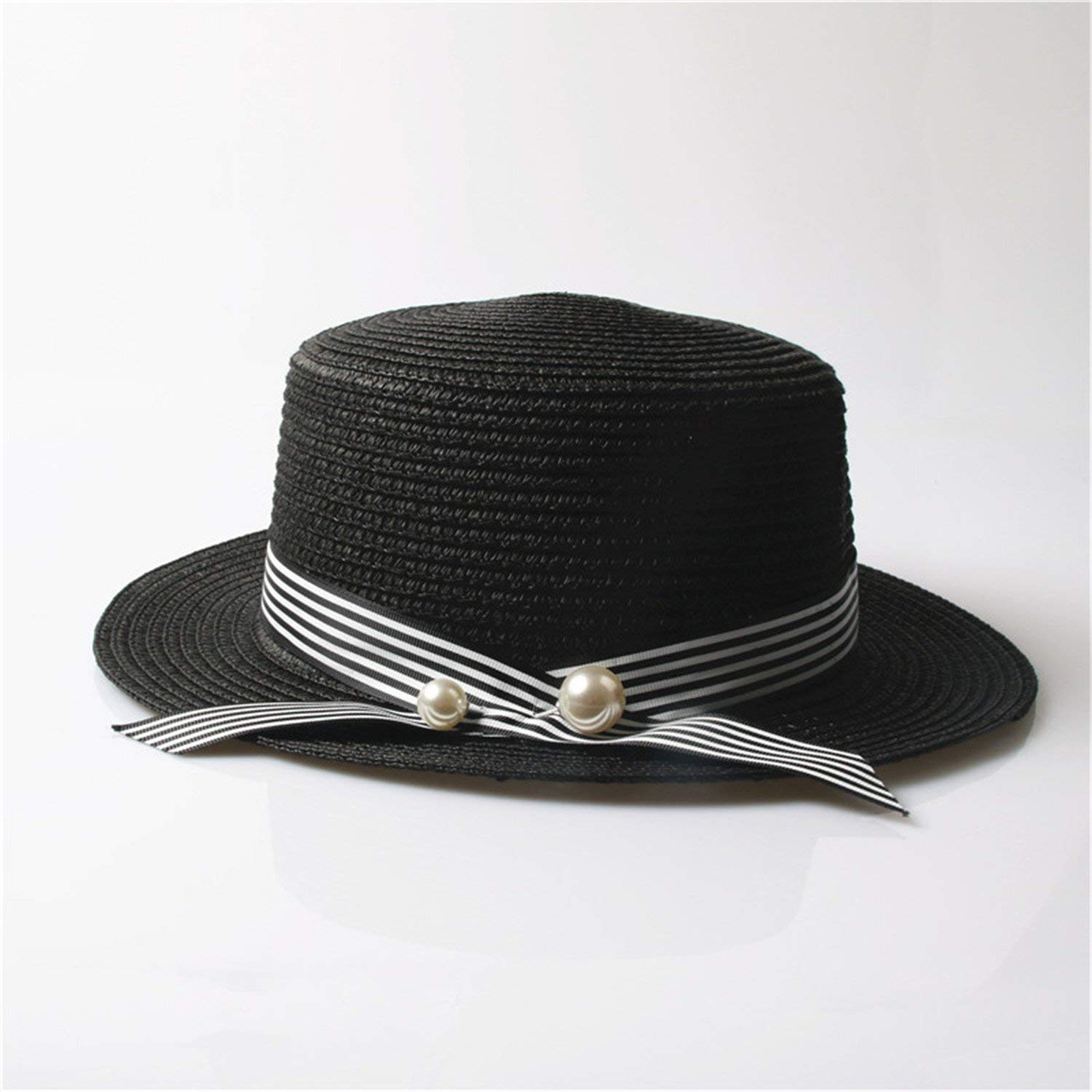 c879d556990 Get Quotations · Beverly Stewart Lady Boater Sun Caps Ribbon Round Flat Top  Straw Beach Hat Panama Hat Summer