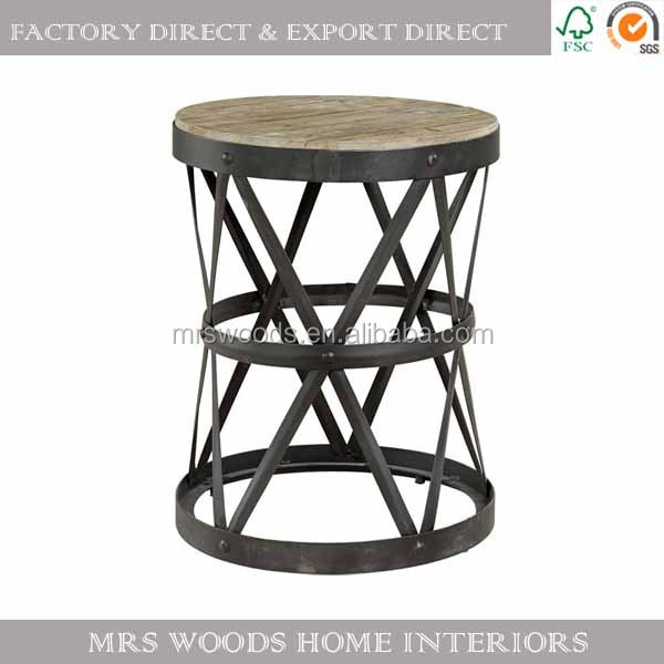 MW Home Vintage Industrial Round Wooden Top Iron Frame Side Table