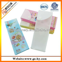 PP white clear pencil case,plastic pencil bag with cute design printing