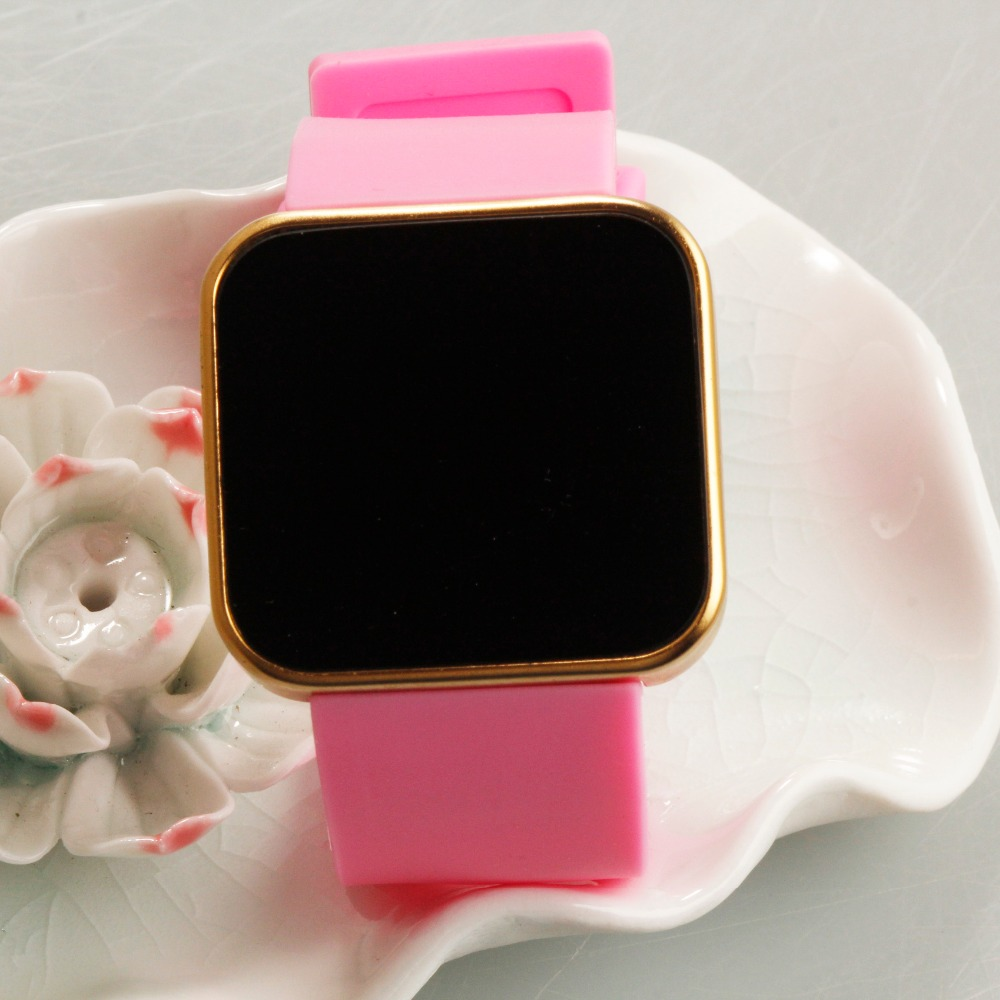color silicone strap watches led smart custom digital watch for young lady
