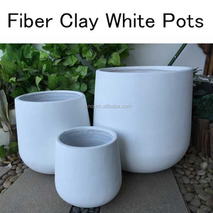 High strength light weight large outdoor round white fiber clay flower pots sales