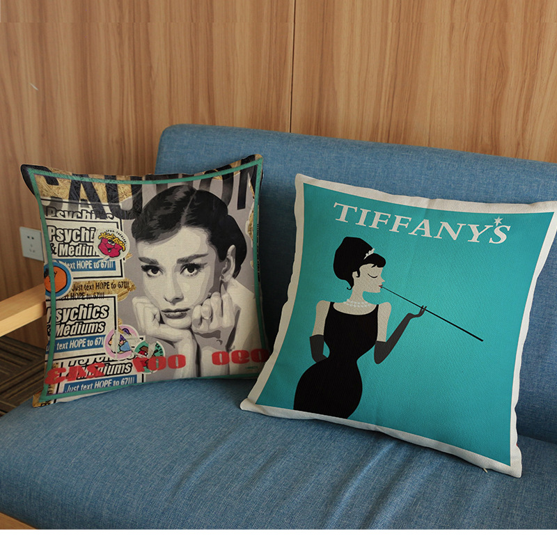 luxury home decoration Car sofa seat cushion cushions pillow Europe America Square Audrey Hepburn Wall Stickers pattern print