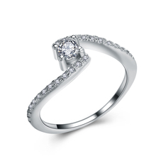 Solitaire Berlian Cincin Perhiasan <span class=keywords><strong>925</strong></span> Sterling Silver Engagement Rings