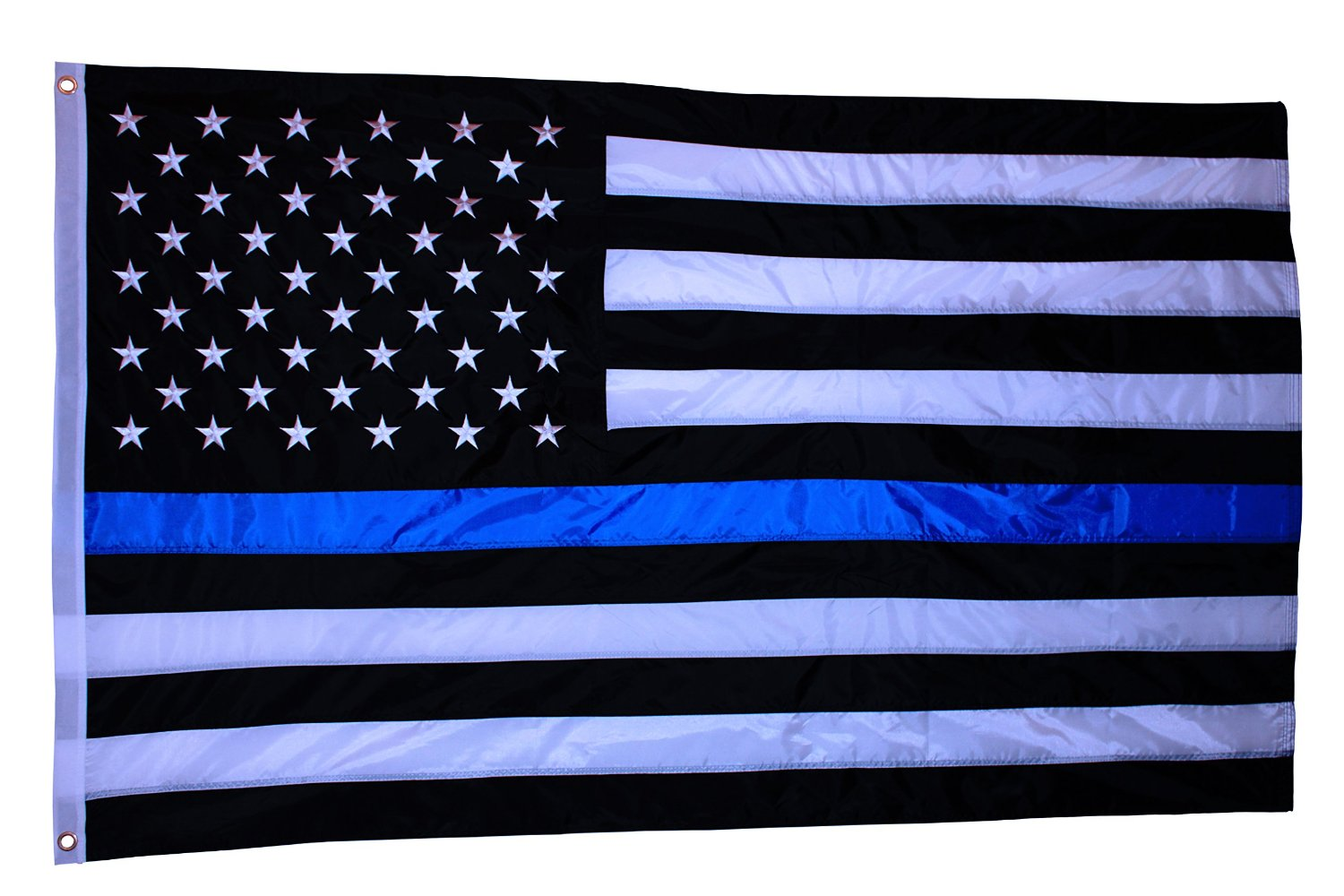EMBROIDERED STAR, Double Side Print, Thick and Beautiful Thin Blue Line American Flag - 3 By 5 Ft - Honoring Our Men and Woman Serving in Law Enforcement