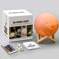 Fudream 12/15/18/20/24cm Romantic Gift 3D Magical LED Luna Night Light Moon Lamp Desk USB Charging Touch Remote Control lamps