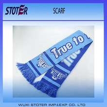 wholesale colorful double layers woven soccer acrylic scarf