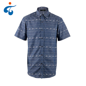 New arrival designer short sleeve button up summer 100% cotton gingham shirt men