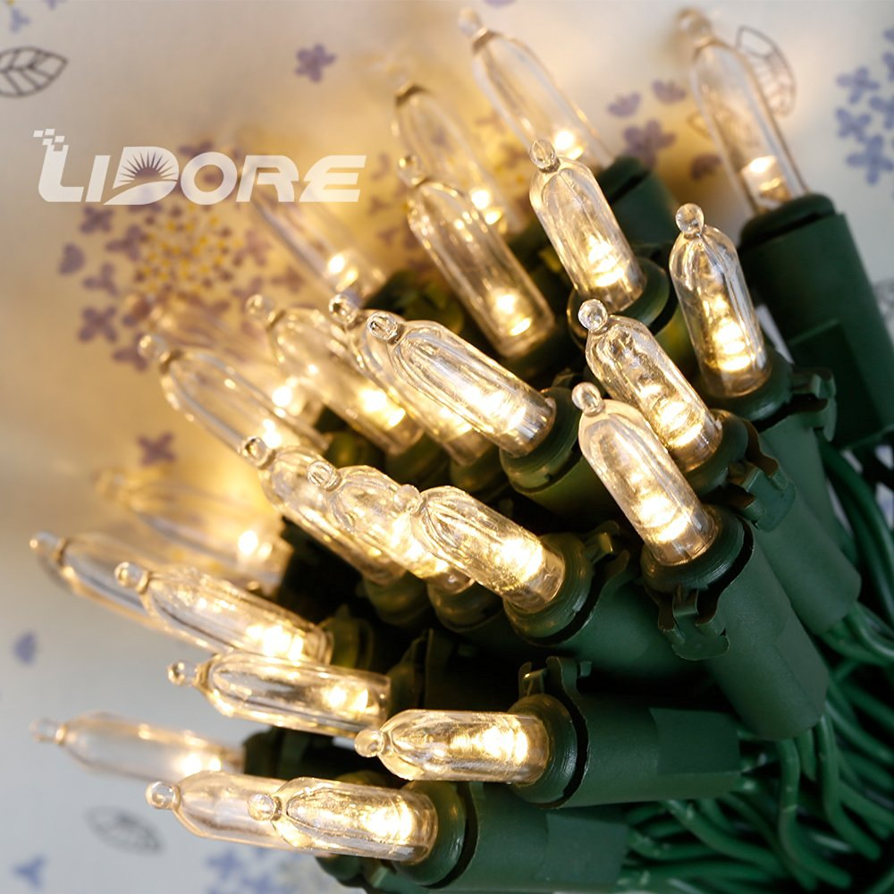 lidore set of 50 super bright led clear mini christmas tree decor lights warm white