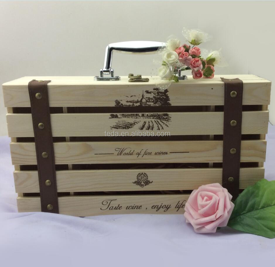 Free Logo Pine Wood Box For 2 Bottles Wine Package