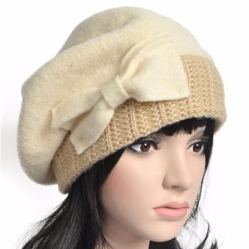 2d3edbccada Women French Beret Wool Knit British Beanie Felt Tam Winter Hat ...