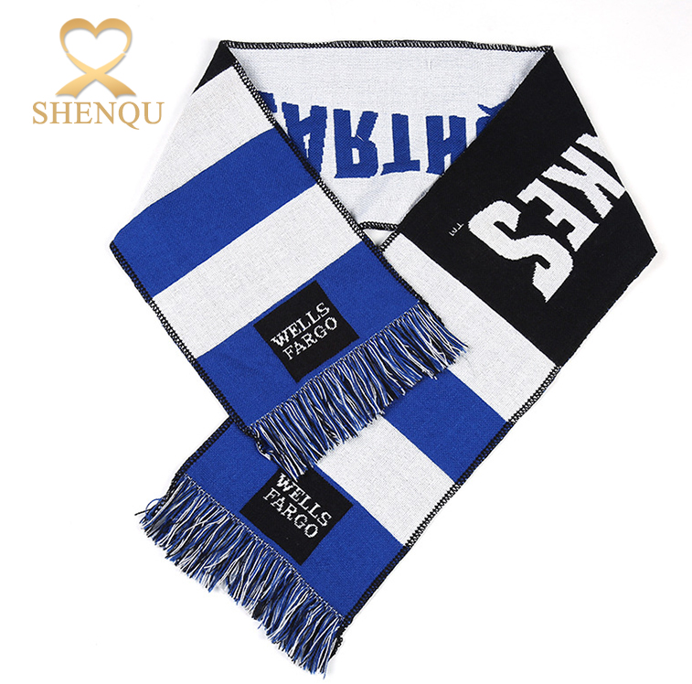 National Flag Design Fashionable Winter Acrylic Wool Knitted Football Scarf with Letters