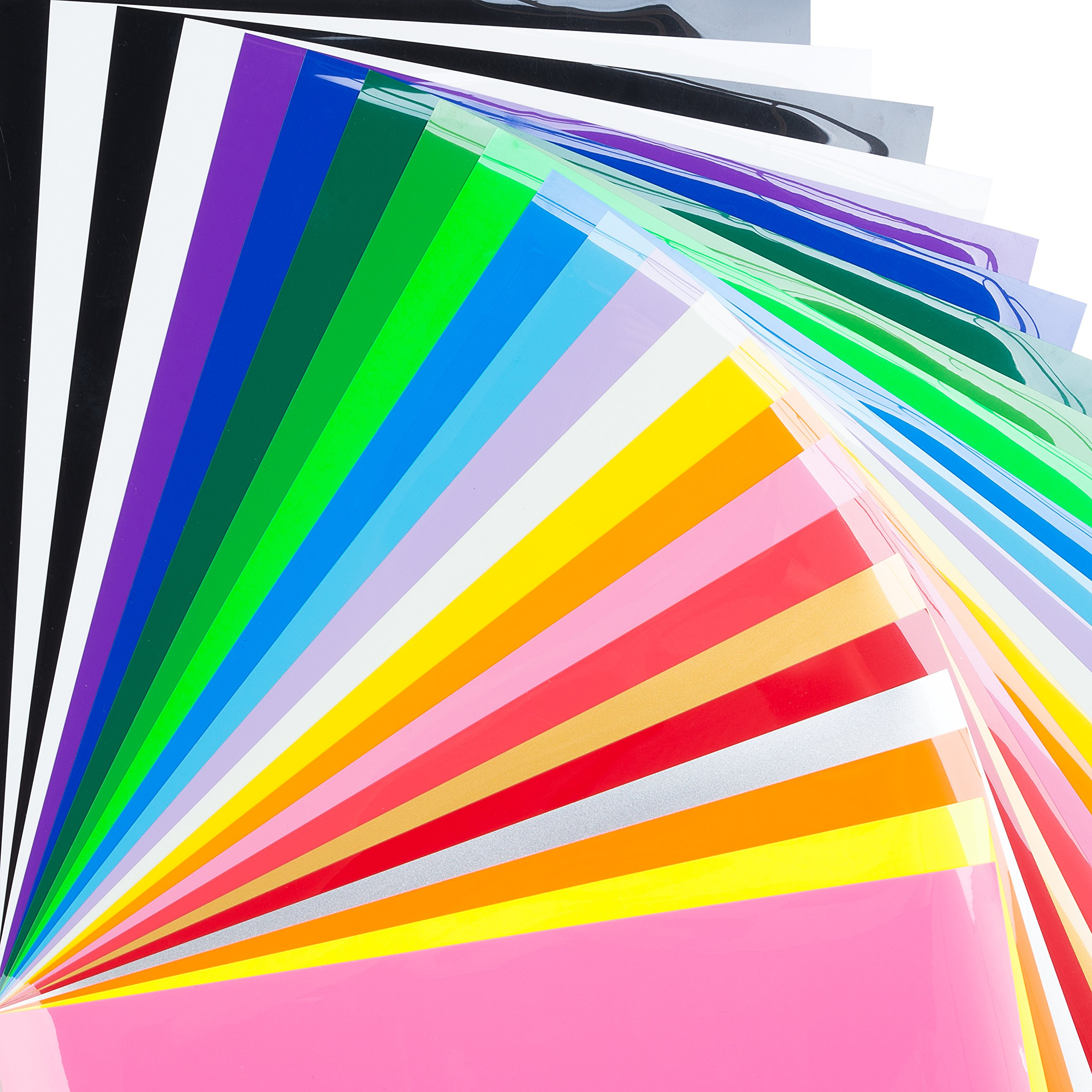 """BRIGHT IDEA Heat Transfer Vinyl HTV Bundle 12""""x10""""- 23 Pack of Assorted Colors and Glow in the Dark Iron On T-Shirt Vinyl Transfer Sheets - Best HTV Vinyl for Silhouette Cameo, Cricut, Heat Press"""