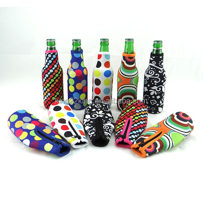 Wholesale neoprene beer bottle cover cooler with zipper