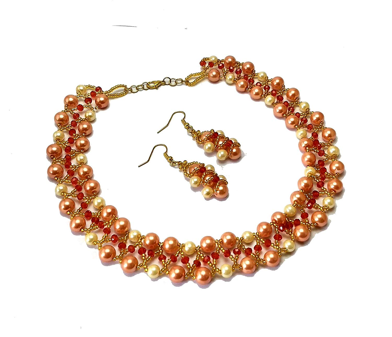 Orange beads necklace, orange glass beads necklace with matching earrings, handmade necklace, beaded necklace, choker necklace, chokers