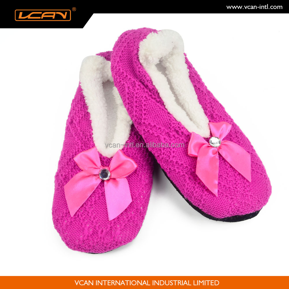 Women Super Soft Warm Cozy Fuzzy Fleece Slippers Non-Slip Lined Socks With Cute Bow