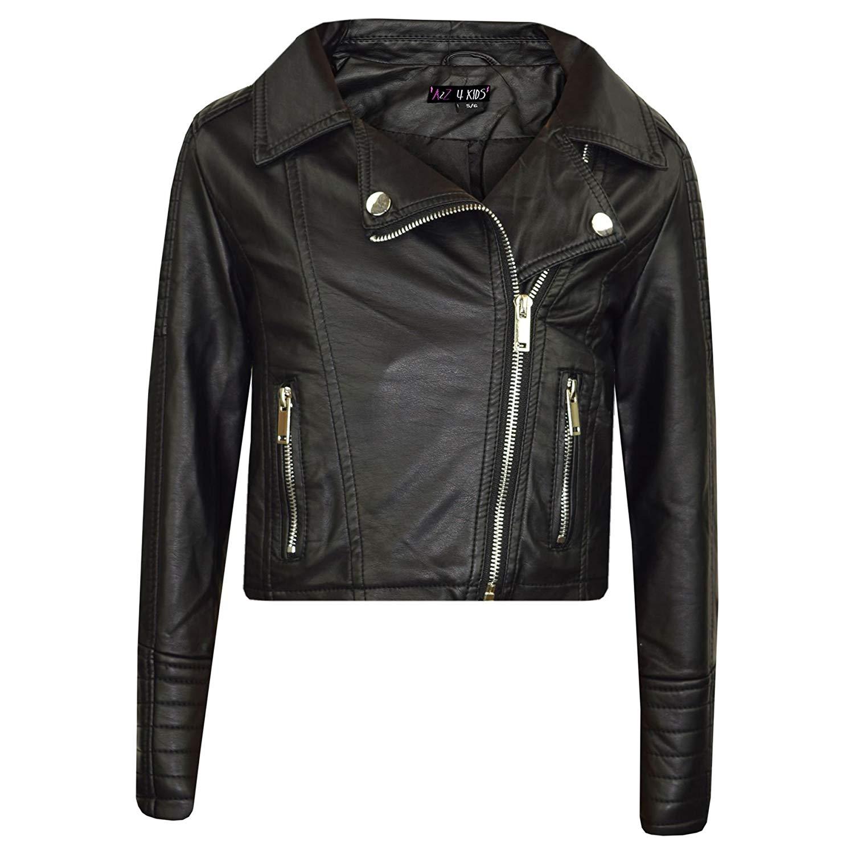 483d897f0 Get Quotations · A2Z 4 Kids® Girls Jackets Kids Designer Black PU Faux  Leather Jacket Zip up Biker
