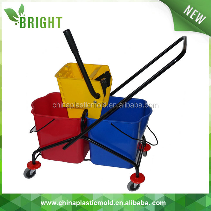 Heavy duty double cleaning mop bucket plastic with wringer trolley