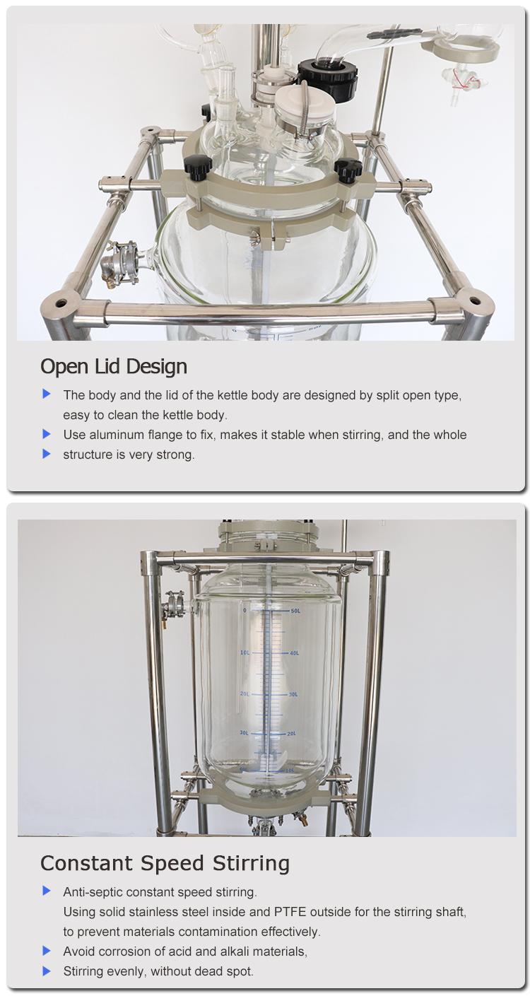 Distillazione reattore di vetro 20 l 10-200l uso industriale 1-5l lab