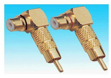 RCA male to female right angle adaptor brass material gold palting