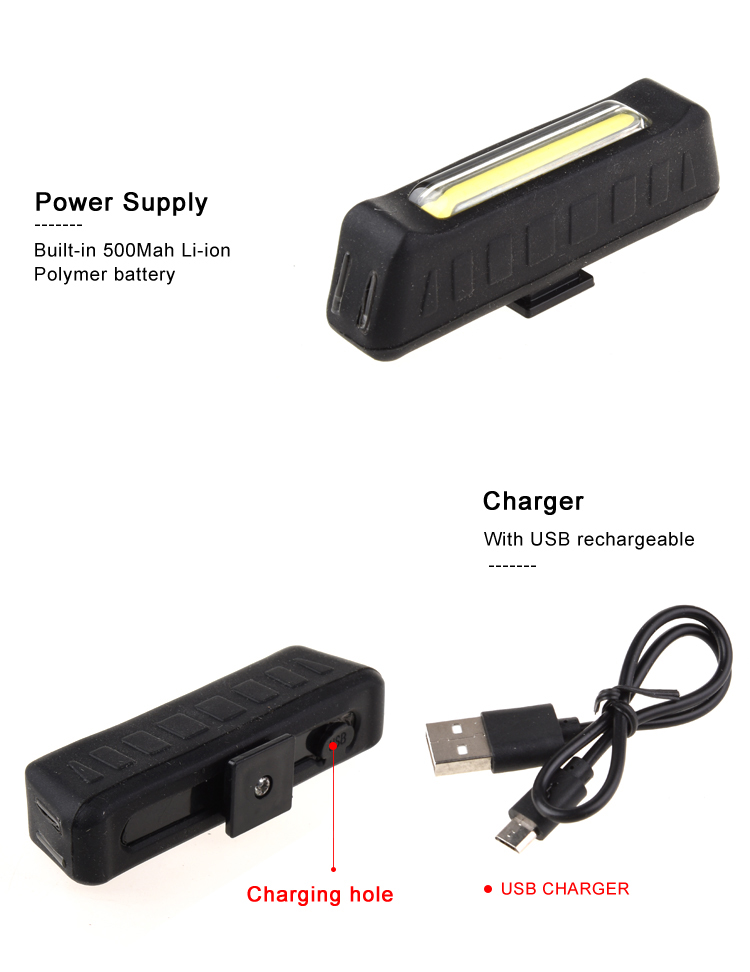 2018 New Tech COB Silicone High Power Micro USB Rechargeable Front LED Bike Light